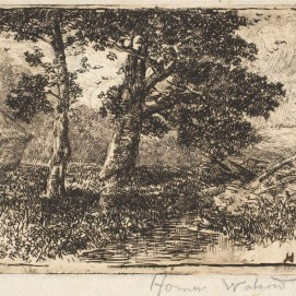 Homer Watson. Hay Ricks, 1889-1890. Etching on wove paper, (12.7 x 17.8 cm). NGC no. 7901