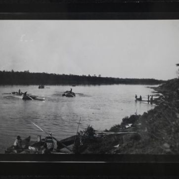 Loading H.B.C. barges at Prince Albert for trading posts along the North Sask (multiple), ca. 1870. PAS R-A4371