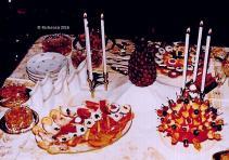 Käseigel, Schnittchen, Obstsalat....