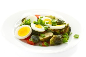 Food sources of choline including Brussels sprouts salad with eggs