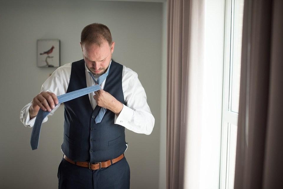 Groom Getting Ready at Hotel Indigo