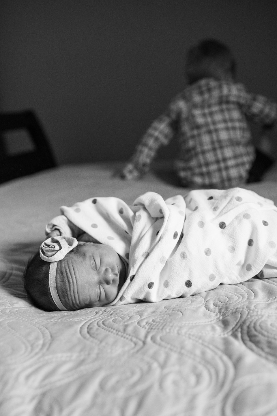 Black and White Newborn Photography with Sibling in Fairfax, VA