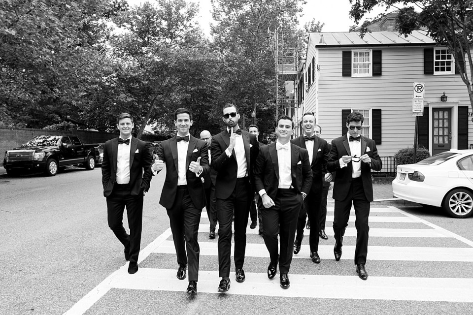 Groomsmen walking to Dahlgren chapel in Georgetown