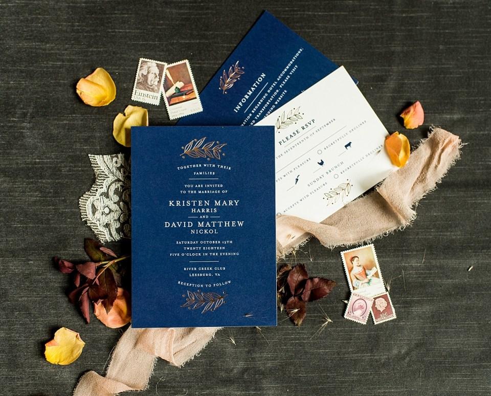 Fall Wedding at River Creek Club Wedding Invitations