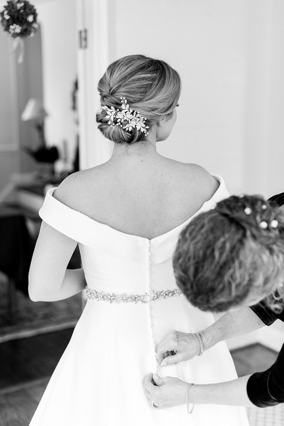 Bride Getting Ready for Blessed Sacrament Wedding in Chevy Chase, MD