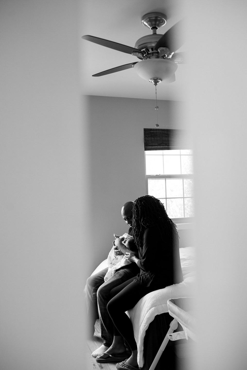 DC Newborn Photographer shows newborn at home
