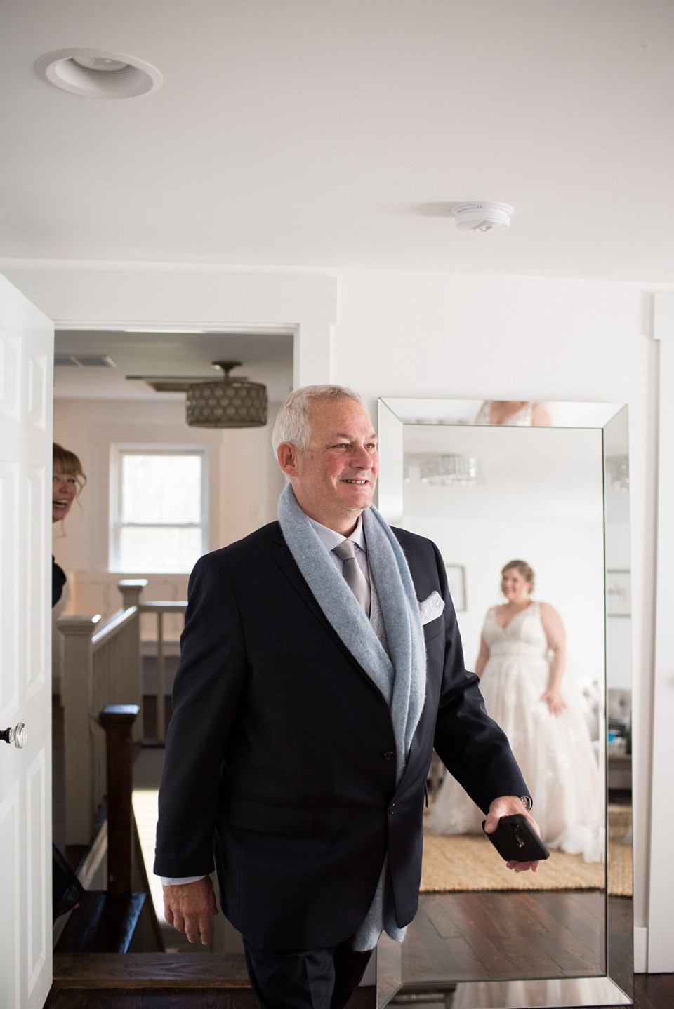 First Look with father at 48 Fields Wedding