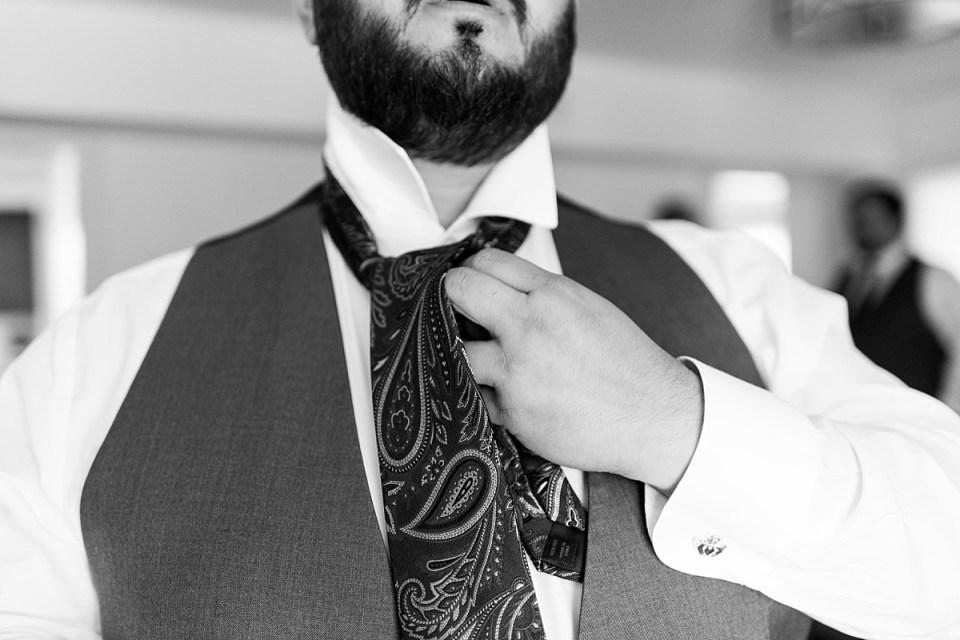Groom getting ready for 48 Fields wedding in Leesburg, VA