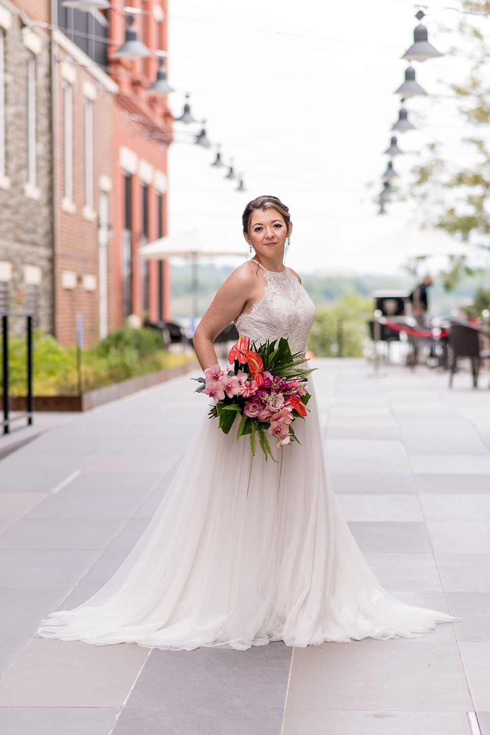 Bride with Tropical Bouquet at Old Town Alexandria Wedding