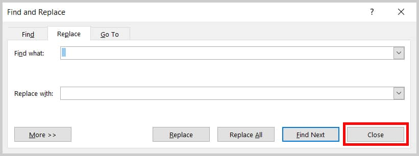 Image of Word 2019 Find and Replace Dialog Box Close Button | Step 7 in How to Delete Extra Spaces in Microsoft Word