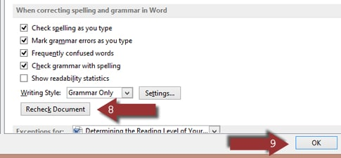 Word 2013 Recheck Document option