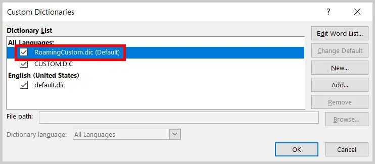 custom dictionary is not available word 2019