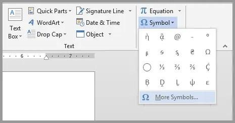 word 2013 more symbols option
