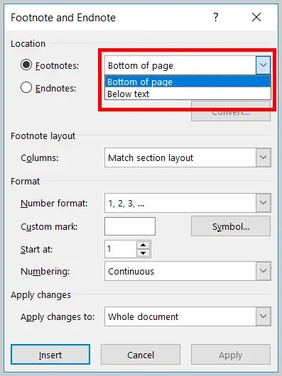 Image of Word 365 / Word 2019 Note Locations in the Footnote and Endnote Dialog Box   Step 5 in How to Insert Footnotes and Endnotes in Word