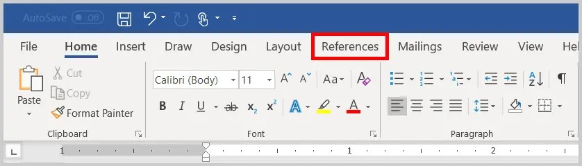 Image of Word 365 / Word 2019 References Tab   Step 2 in How to Insert Footnotes and Endnotes in Word