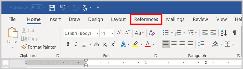 Image of Word 365 / Word 2019 References Tab | Step 2 in How to Insert Footnotes and Endnotes in Word