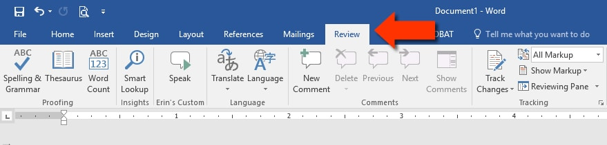 Word 2016 Review Tab
