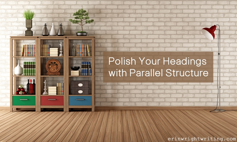 Polish Your Headings with Parallel Structure   Bookcase and Lamp Against Brick Wall