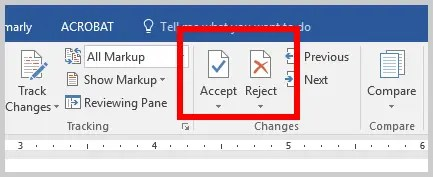 Word 2016 Accept or Reject Track Changes Buttons