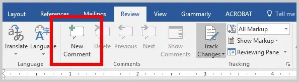 Word 2016 Comment Button