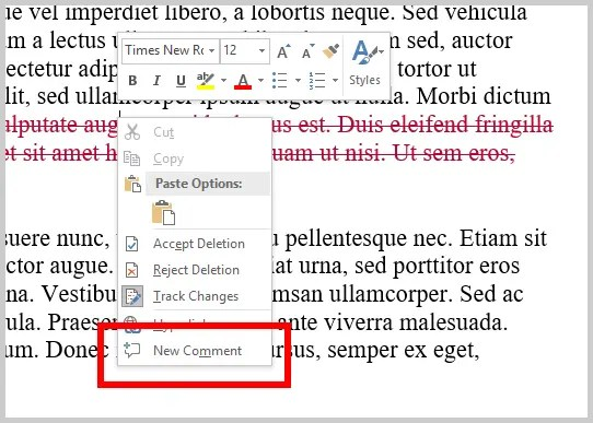 Word 2016 New Comment Option from Right-Click on Markup