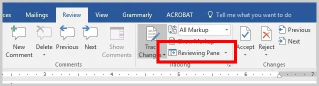 Word 2016 Reviewing Pane Option in Tracking Group