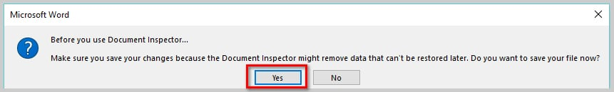 How to Remove User Names from Existing Track Changes in Microsoft Word | Image of Document Inspector Warning Dialog Box