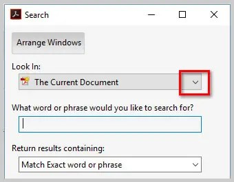 Image of Adobe Acrobat DC Advanced Search Dialog Box Look In Menu | How to Search Multiple PDFs with Adobe Acrobat's Advanced Search