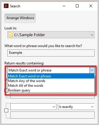Image of Adobe Acrobat DC Advanced Search Dialog Box Return Results Parameters | How to Search Multiple PDFs with Adobe Acrobat's Advanced Search