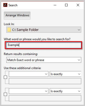 Image of Adobe Acrobat DC Advanced Search Dialog Box Text Box | How to Search Multiple PDFs with Adobe Acrobat's Advanced Search
