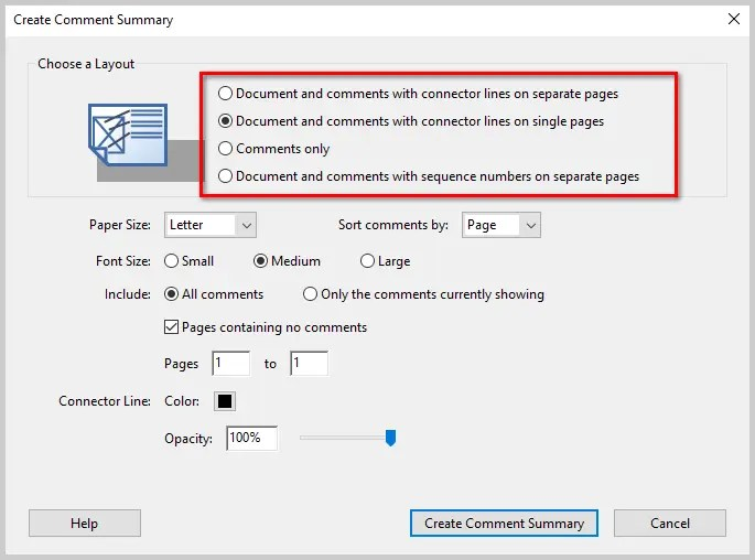 Image of Adobe Acrobat DC Create Comment Summary Dialog Box | How to Print PDFs with Comments and Mark-Ups in Adobe Acrobat DC