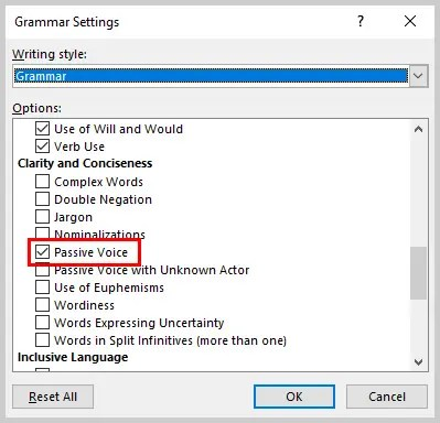 Image of Word 2016 Grammar Settings Dialog Box | How to Use the Passive Voice Tool in Microsoft Word 2016