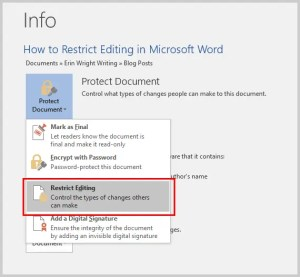 How to Restrict Editing in Microsoft Word