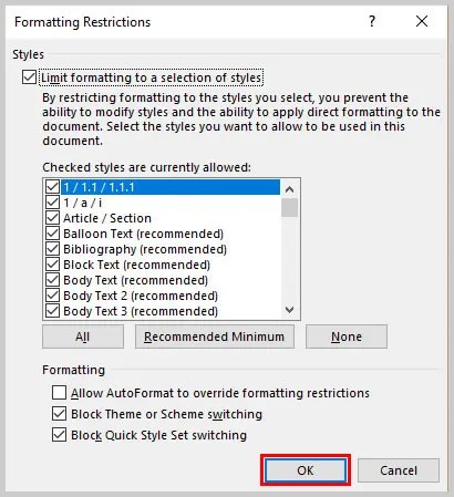 selection is locked microsoft word 2016