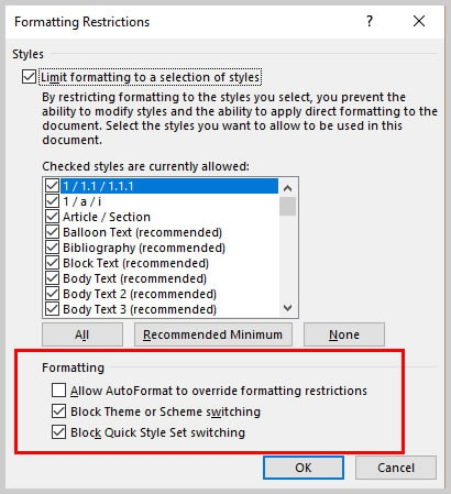 Microsoft Word 2016 Formatting Restrctions Dialog Box Optional Formatting | How to Restrict Changes in Microsoft Word