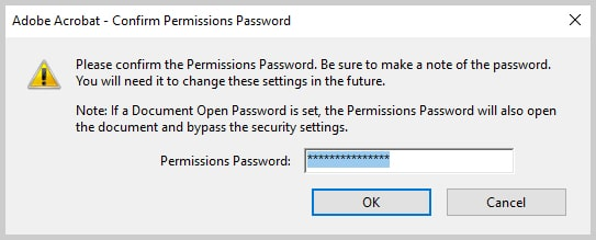Image of Adobe Acrobat Confirm Permissions Password Dialog Box | How to Restrict Editing in Adobe Acrobat