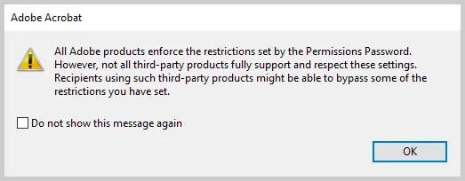 Image of Adobe Acrobat Permissions Password Alert Box | How to Restrict Editing in Adobe Acrobat