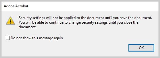 Image of Adobe Acrobat Saving Alert Box | How to Restrict Editing in Adobe Acrobat