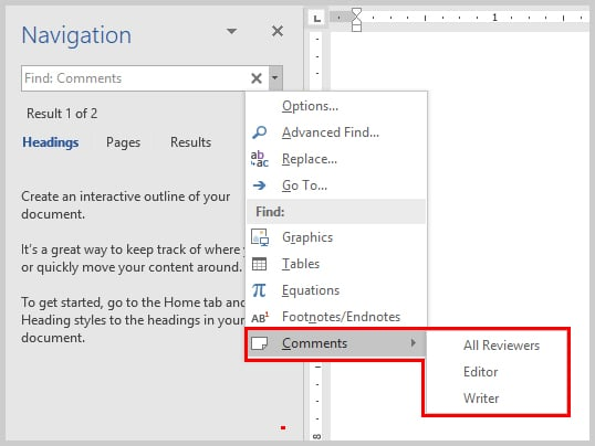 Microsoft Word Navigation Pane Comments Option | How to View Specific Reviewers' Comments and Edits in Microsoft Word