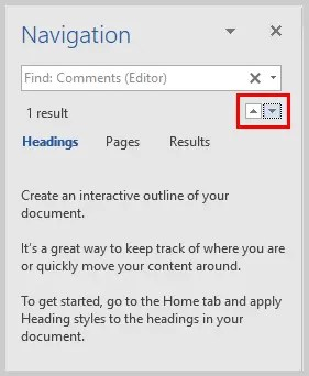 Microsoft Word Navigation Pane Navigation Buttons | How to View Specific Reviewers' Comments and Edits in Microsoft Word