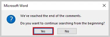 Image of End of Comments Alert Box | How to Search Within Comments in Microsoft Word