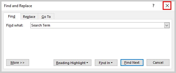 Image of Find and Replace Dialog Box with Closing X Highlighted | How to Search Within Comments in Microsoft Word