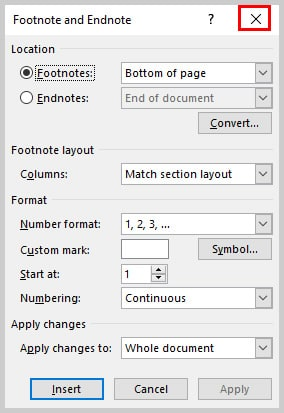 Image of Microsoft Word Footnote and Endnote Dialog Box Closure X | How to Convert Individual Footnotes and Endnotes