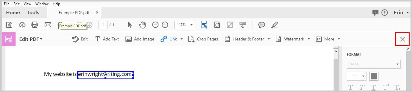 Image of Adobe Acrobat Edit PDF Toolbar Closing X | How to Create External Links in PDFs with Adobe Acrobat