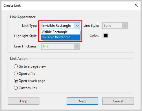 Image of Adobe Acrobat Link Type Options | Step 6 in How to Create Internal Links in PDFs