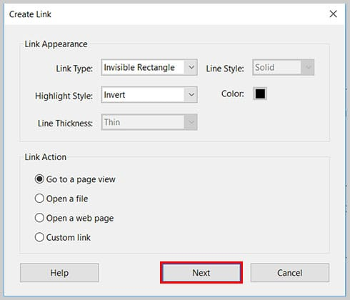 Image of Create Link Dialog Box Next Button | Step 8 in How to Create Internal Links in PDFs