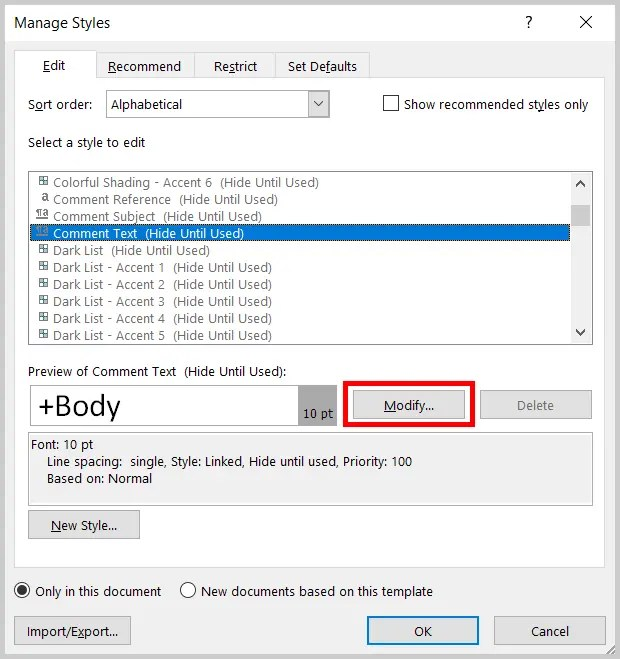 Word 2019 Manage Styles Dialog Box Modify Button | Step 6 in How to Change Font and Font Size of Comments in Word