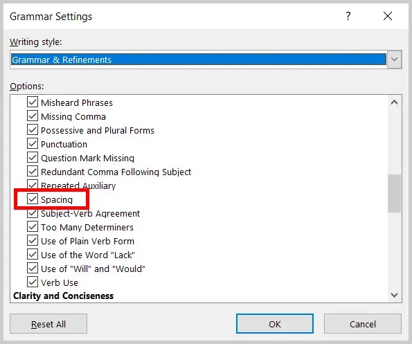 Image of Word's Grammar Settings Dialog Box Spacing Option | Step 6 in How to Find Extra Spaces in Word by Customizing the Proofing Options
