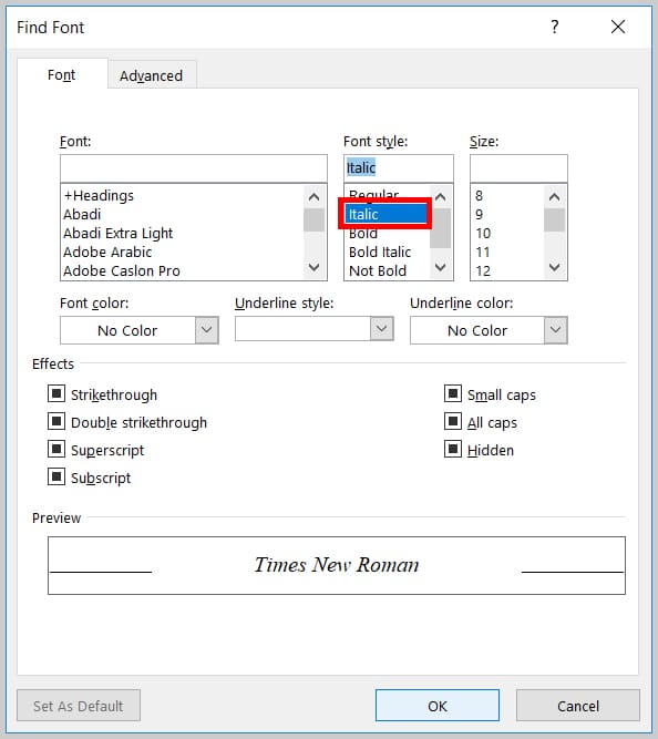 Image of Word 365 / Word 2019 Italic Option in the Find Font Dialog Box | Step 7 in How to Find and Replace Formatting Applied Anywhere in a Word Document