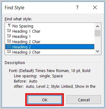 Image of Word 365 / Word 2019 OK Button in the Find Style Dialog Box | Step 8 in How to Find and Replace Formatting Applied to Specific Text in a Word Document